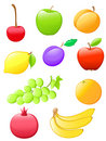 Glossy fruit icons Stock Photography