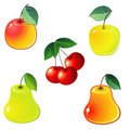 Glossy fruit icons Royalty Free Stock Image