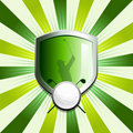 Glossy golf shield emblem Stock Photos