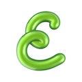 Glossy green letter E uppercase. 3D rendering