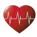 Glossy heart cardiogramme on white Stock Photo