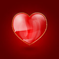 Glossy heart on red background Royalty Free Stock Images