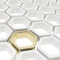 Glossy hexagon segments as abstract background copyspace made of one golden element among white ones Royalty Free Stock Photo