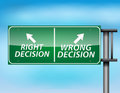 Glossy highway sign with right and wrong decision Stock Photos