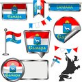 Glossy icons with flag of Samara