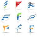 Glossy Icons for letter F Stock Image