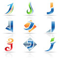 Glossy icons for letter j vector illustration of abstract based on the Stock Photos