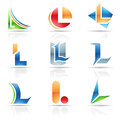 Glossy icons for letter l vector illustration of abstract based on the Royalty Free Stock Image