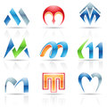 Glossy icons for letter m vector illustration of abstract based on the Stock Photography