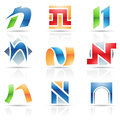 Glossy icons for letter n vector illustration of abstract based on the Stock Photography