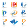 Glossy icons for letter p vector illustration of abstract based on the Stock Photography