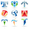 Glossy icons for letter t vector illustration of abstract based on the Royalty Free Stock Photos