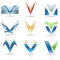 Glossy icons for letter v vector illustration of abstract based on the Royalty Free Stock Image