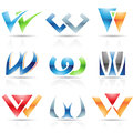 Glossy icons for letter w vector illustration of abstract based on the Royalty Free Stock Image