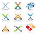 Glossy icons for letter x vector illustration of abstract based on the Stock Image