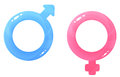 Glossy illustrations of gender symbols blue for male pink for female Royalty Free Stock Photos