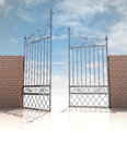 Glossy iron gate in strong brick wall concept illustration Stock Photos
