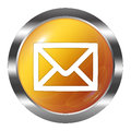 Glossy mail icon button  over white Royalty Free Stock Photo