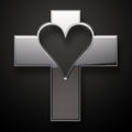 Glossy metal jesus cross heart shape on grey background Stock Photos