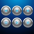 Glossy multimedia control web icon set Royalty Free Stock Photo