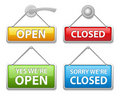 Glossy open and closed door signs board Royalty Free Stock Photo
