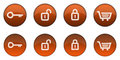 Glossy Orange 3D Web Button Set 1 Royalty Free Stock Photo
