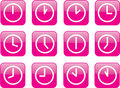 Glossy pink clocks Stock Photos