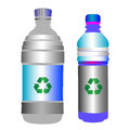 Glossy plastic pets two bottles with the green recycling sign over blank labels objects isolated on white Royalty Free Stock Photo