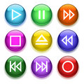 Glossy player buttons Stock Photography