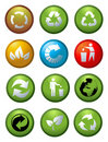 Glossy recycle icons vector Stock Photography
