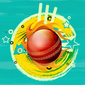 Glossy red ball in fire flame for Cricket. Royalty Free Stock Photo