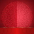 Glossy red card with lace round ornament Royalty Free Stock Photo