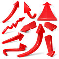 Glossy red 3d arrows isolated on white vector set