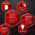 Glossy red frames on metal background infographi infographics template vector illustration Stock Photo