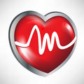 Glossy red heart with heart rates Stock Photos
