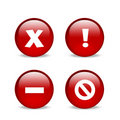 Glossy red website error icons Royalty Free Stock Photo