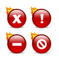Glossy red website error icons with flames Royalty Free Stock Photo
