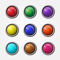 Glossy rounded rectangular buttons button icon set Royalty Free Stock Photography