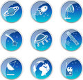 Glossy space icons set Royalty Free Stock Image