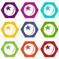 Glossy star ball icons set 9 vector Royalty Free Stock Photo