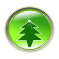 Glossy sticker with xmas tree Royalty Free Stock Image