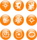 Glossy sun button icon set Royalty Free Stock Photo