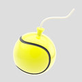 Glossy tennis ball as a bomb isolated on grey Royalty Free Stock Images