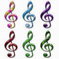 Glossy Treble Clefs Collection Stock Photo