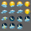 Glossy weather icons. Stock Images
