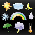 Glossy Weather Icons Royalty Free Stock Photo
