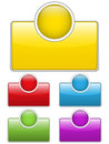 Glossy web buttons with colored boxes. Stock Photography