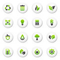Glossy white environmental icons Stock Photo
