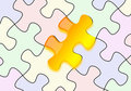 Glossy yellow puzzle on paper Royalty Free Stock Photo