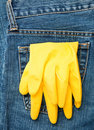 Gloves in a pocket Royalty Free Stock Images